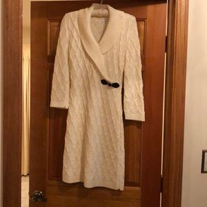 Calvin Klein white knit longsleeve dress